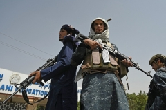 Taliban fighters in Kabul on September 11. (Photo by Aamir Qureshi/AFP via Getty Images)