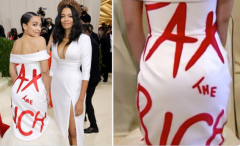 Rep. Alexandria Ocasio-Cortez (D-N.Y.) turns heads at the Met gala with her tax-the-rich gown. (Photo: Screen capture)