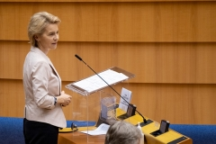 President of the European Union's executive Commission, Ursula von der Leyen. (Photo by Thierry Monasse/Getty Images)