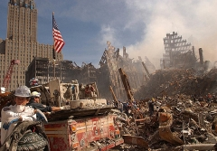 In this photo from the Federal Emergency Management Agency, firefighters and rescue workers battle smoldering fires at the ruins of the World Trade Center in New York. (Photo by FEMA/AFP via Getty Images)