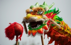 """Revelers perform the """"Chinese Dragon"""" dance. (Photo credit: Robertus Pudyanto/Getty Images)"""