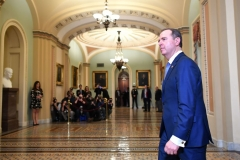 House Impeachment Managers Adam Schiff walks to the Senate chamber before the Senate impeachment vote on Capitol Hill in Washington, DC on February 5, 2020. (Photo by MANDEL NGAN/AFP via Getty Images)