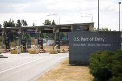 The US Port of Entry at the USA-Canada border, which is still closed to non-essential travel for Canadians, is pictured on the same day as Canada reopens to fully-vaccinated Americans for non-essential travel in Blaine, Washington on August 9, 2021. (Photo by JASON REDMOND/AFP via Getty Images)