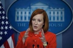 White House Press Secretary Jen Psaki speaks at the daily briefing at the White House in Washington, DC, on October 12, 2021. - Joe Biden will welcome Kenyan President Uhuru Kenyatta on Thursday, in the first visit by an African leader to the United States during his presidency, the White House announced. (Photo by NICHOLAS KAMM/AFP via Getty Images)