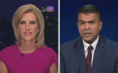 Fox News host Laura Ingraham speaks with Dr. Paul Alexander, a former adviser to President Donald Trump on COVID-19. (Photo credit: Fox News)
