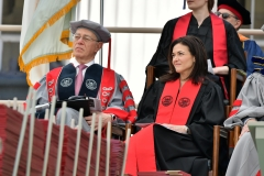 MIT President Leo Rafael Reif and Sheryl Sandberg on stage at the Massachusetts Institute of Technology Commencement Exercises. (Photo credit: Paul Marotta/Getty Images)