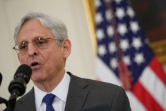 Attorney General Merrick Garland speaks about crime prevention, in the State Dining Room of the White House. (Photo credit: MANDEL NGAN/AFP via Getty Images)