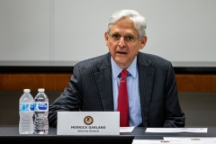 Attorney General Merrick Garland speaks during a meeting with various law enforcement leadership and Illinois-area Strike Force Teams at the US Attorneys Office in Chicago, Ill., on July 23, 2021. (Photo credit: SAMUEL CORUM/POOL/AFP via Getty Images)