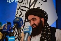 Taliban foreign minister Amir Khan Muttaqi. (Photo by Hoshang Hashimi/AFP via Getty Images)