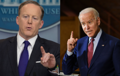 Pictured are former White House Press Secretary Sean Spicer and President Joe Biden. (Photo credit: JIM WATSON/AFP via Getty Images and Joe Biden_MANDEL NGAN/AFP via Getty Images)