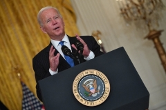 President Joe Biden speaks about efforts to ease supply chain bottlenecks on October 13, 2021. (Photo by NICHOLAS KAMM/AFP via Getty Images)