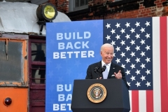President Joe Biden speaks after touring the Electric City Trolley Museum in Scranton, Pennsylvania on October 20, 2021. (Photo by NICHOLAS KAMM/AFP via Getty Images)