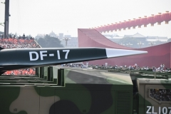 A purported Dongfeng-17 ballistic missile designed to operate with a DF-ZF hypersonic glide vehicle is rolled out during a military parade in Tiananmen Square in Beijing on October 1, 2019. (Photo by Greg Baker/AFP via Getty Images)