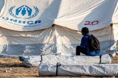 A U.N.-administered refugee camp on the Greek island of Lesbos. (Photo by Niels Wenstedt/BSR Agency/Getty Images)