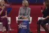 Kellyanne Conway, counselor to President Donald Trump (left) and Education Secretary Betsy DeVos (center) at CPAC in National Harbor, Md. (Screenshot)