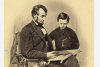 President Lincoln reading the Bible to his son. This has been retouched and photographed by A. Berger from the original Matthew Brady photo. (Photo by PhotoQuest/Getty Images)