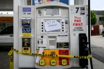 Out of order notes are left on gasoline pumps to let motorists know the pumps are empty at a Shell gas station in Woodbridge, Virginia on May 12, 2021. (Photo by ANDREW CABALLERO-REYNOLDS/AFP via Getty Images)