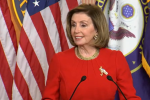 House Speaker Nancy Pelosi shed her mask for her May 13 news conference. (Photo: Screen capture)